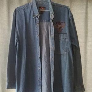 Men's long sleeve button down Jean shirt